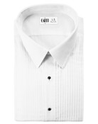 Enzo White Laydown Collar Tuxedo Shirt - Men's Large
