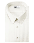 Enzo Ivory Laydown Collar Tuxedo Shirt - Men&#039;s Small
