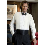 Men's White Wing Collar Tuxedo Shirt with Pleated Front