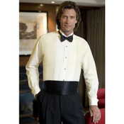 Men's Ivory Pleated Tuxedo Shirt with Wing Collar