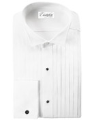 Men&#039;s White 100% Cotton Wing Tip Collar (Roma) Tuxedo Shirt by Cristoforo Cardi