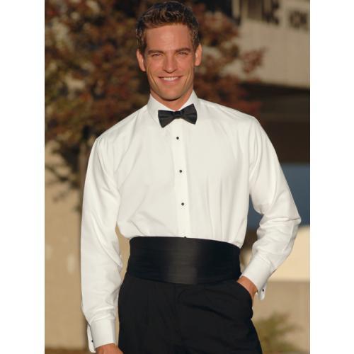 Men 39 s white non pleated laydown collar tuxedo shirt for Tuxedo shirts for men