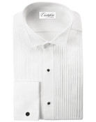 Men&#039;s White Wing Tip Collar Pleated (Verona) Tuxedo Shirt by Cristoforo Cardi