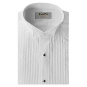 White Pleated Wing Collar Shirt