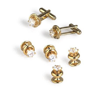Gold Knot with Raised Cubic Zirconia Center Cufflinks and Studs
