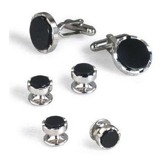 Deco Style Black Onyx Cufflinks and Studs