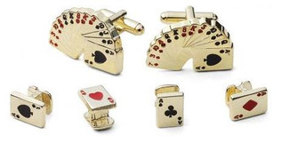 Gold Poker Cufflinks and Studs Set