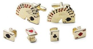 Gold Poker Cufflinks and Studs Set