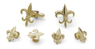 Fleur De Lis Cufflinks and Studs Set