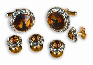 Topaz and Austrian Crystal Cufflinks and Studs Set
