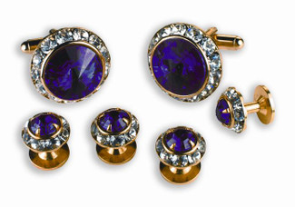 Amethyst & Austrian Crystal Cufflinks and Studs Set