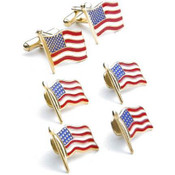 American Flag Cufflinks and Studs Set - Stars and Stripes Cufflinks and Studs
