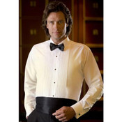 Ivory Tuxedo Shirt with Laydown Collar- Men&#039;s Small