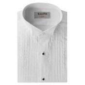 White Pleated Wing Collar Tuxedo Shirt - Men's Large