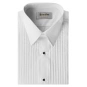 White Pleated Laydown Collar Tuxedo Shirt - Men's Medium