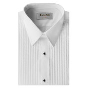White Pleated Laydown Collar Tuxedo Shirt - Men's Large