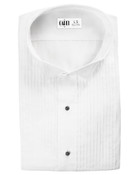 White Aldo Pleated Laydown Collar Tuxedo Shirt - Men's Medium