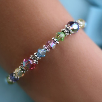 Basic Bracelet shown in Sterling Silver Pastel.