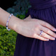 Basic Bracelet shown in Sterling Silver Orchid. Shown with our Stretch Ring in Purple Velvet.