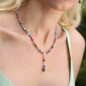 Crystal Drop Necklace shown in Sterling Silver Garden - Olive, Aquamarine, Tanzanite & Padparadscha Swarovski crystals.