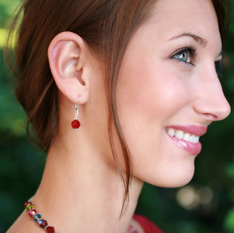 Single Crystal Earrings shown in Sterling Silver Siam (Red)