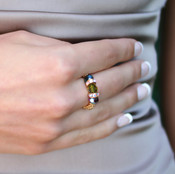 Stretch Ring shown in 18K Gold Vermeil Earth - Montana, Olive & Amethyst Swarovski crystals.