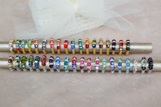 Gold colors (left to right): Crystal (Clear), Garden, Aquamarine, Peridot, Pastel, Tanzanite, Rose, Peony, Multi, Sapphire, Zircon, Cabrina, Earth, Browns, Vitrail Medium, Purple Velvet, Siam (Red), Jet (Black).  Silver colors (left to right): Browns, Vitrail Medium, Olivine, Earth, Montana, Siam (Red), Purple Velvet, Sapphire, Zircon, Multi, Peony, Rose, Pastel, Peridot, Tanzanite, Serenity, Aquamarine, Crystal (Clear), Black Tie, Jet (Black).