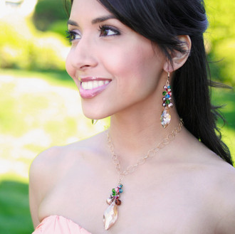 Navette Cluster Necklace shown in 18K Gold Vermeil Goddess. Shown with the Navette Cluster Earrings in Goddess.