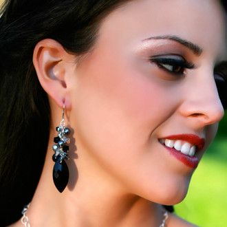 Navette Cluster Earrings in Sterling Silver Black Tie.