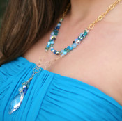 Ocean Navette Double Necklace in 18K Gold Vermeil