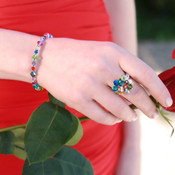 Small Bracelet shown in Sterling Silver Multi. Shown with Cluster Ring in Sterling Silver Multi.