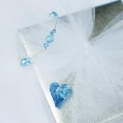 Flower Girl Chain Bracelet in Aquamarine. Shown with Flower Girl Heart Chain Necklace in Aquamarine.