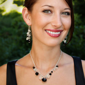 Black Tie Dangle Necklace. Shown with Black Tie Cluster Earrings.