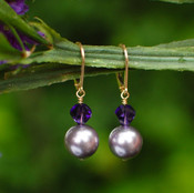 Pearl Drop Earrings shown in Mauve.