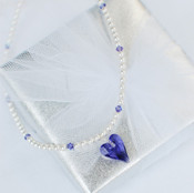 Flower Girl Heart Pearl Necklace in Tanzanite