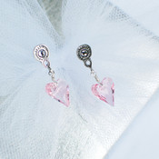 Flower Girl Heart Post Earrings in Light Rose