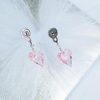 Flower Girl Heart Post Earrings in Light Rose