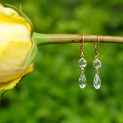 Channel Set Brio Earrings shown in Gold Crystal (Clear)