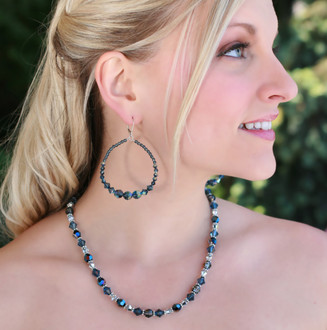 Classic Necklace shown in Sterling Silver Blue Moon. Shown with the Infinity Earrings in Sterling Silver Montana.