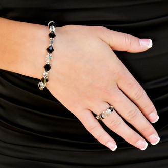 Classic Bracelet shown in Sterling Silver Black Tie. Shown with the Stretch Ring in Sterling Silver Black Tie.