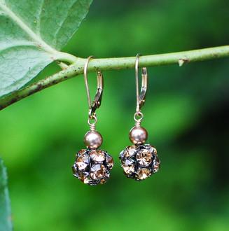 Pavé Pearl Earrings in Browns