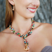 Natalie Necklace in Goddess shown with the Pearl Drop Earrings