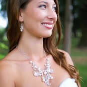Brigitte Necklace shown with the Pearl Cluster Earrings
