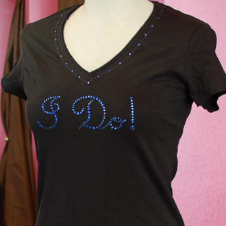 """I Do!"" Crystal Design in Sapphire on Slub V Tee in Black with Crystal Trim"