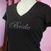 """Bridesmaid"" Crystal Design in Clear AB on Slub V Hoodie in Black with Crystal Trim"
