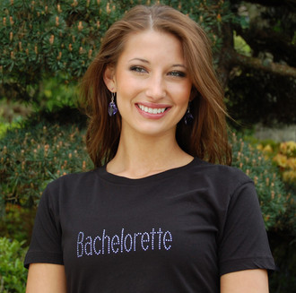 """Bachelorette"" Crystal Design in Tanzanite on Perfect Fit Tee in Black"