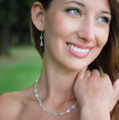 Channel Set Necklace in Silver Crystal (Clear) shown with the Channel Set Brio Earrings