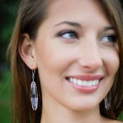 Ellipse Earrings in Sterling Silver Crystal (Clear)