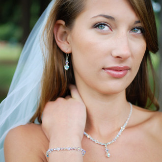 Clear Small Bracelet in Sterling Silver shown with the Crystal Lite Necklace and Two Crystal Earrings
