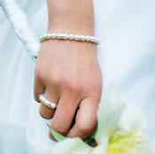Pearl Rondelle Bracelet shown with the Pearl Stretch Ring